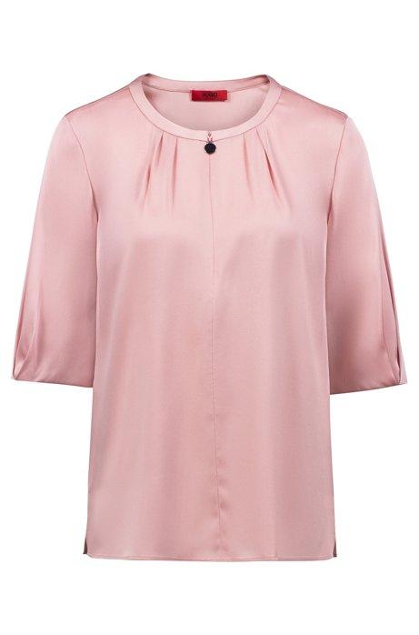 Blusa a maniche corte in seta elasticizzata con esclusiva scollatura, Rosa chiaro