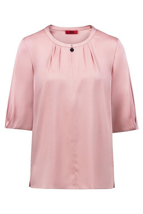 Hugo Boss - Short-sleeved top in stretch silk with statement neckline - 1