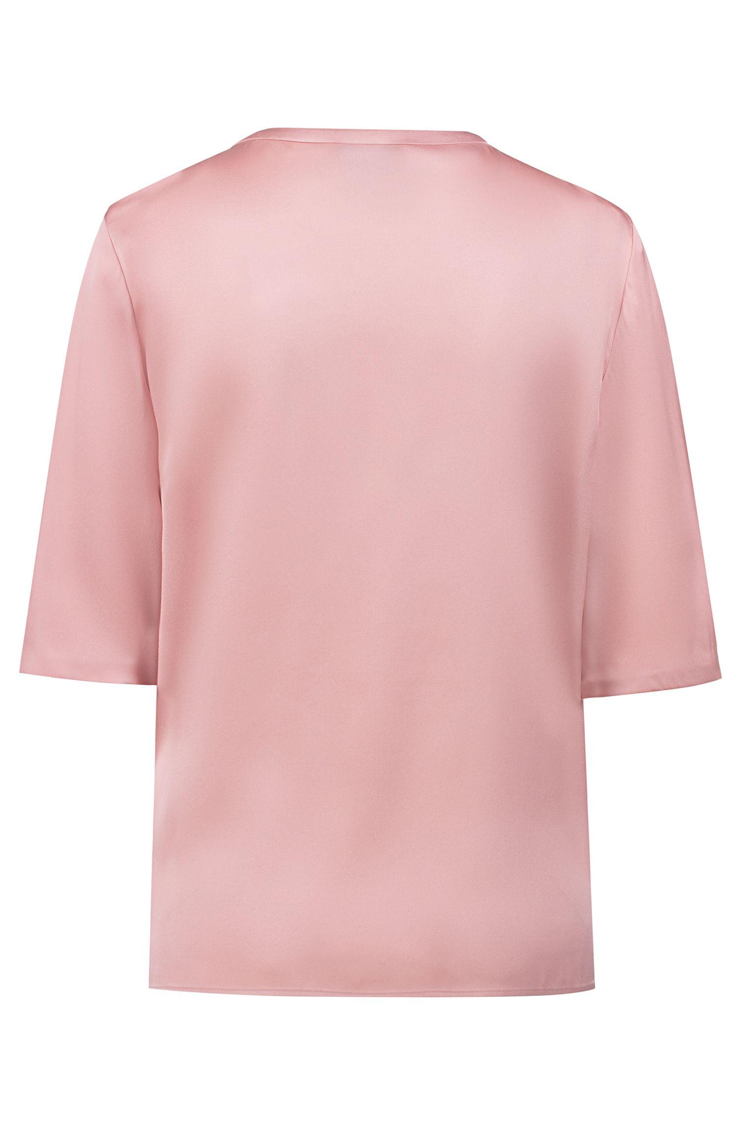 Short-sleeved top in stretch silk with statement neckline, Open Pink
