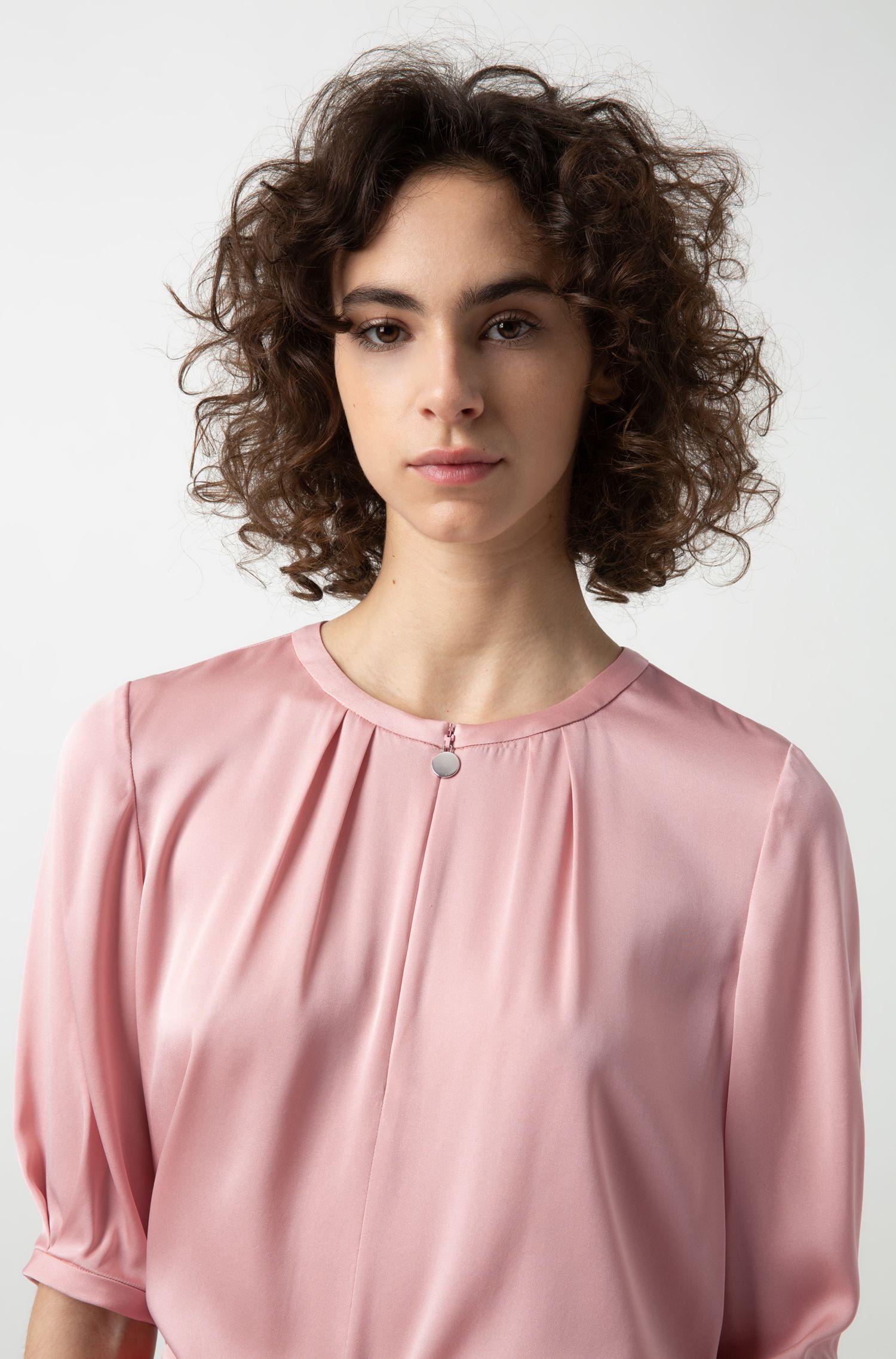 Hugo Boss - Short-sleeved top in stretch silk with statement neckline - 3