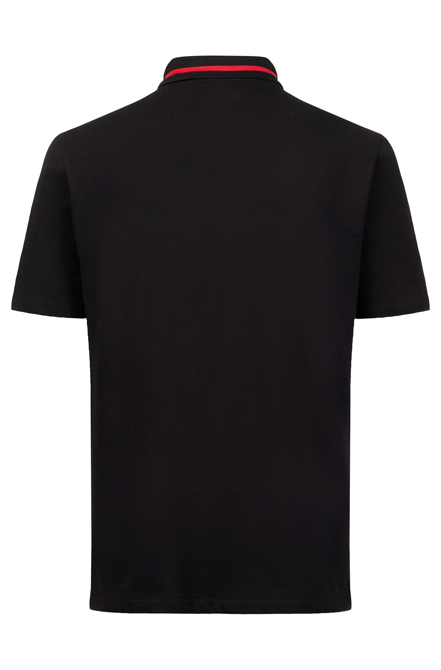 Zip-neck polo shirt with cropped-logo placket, Black