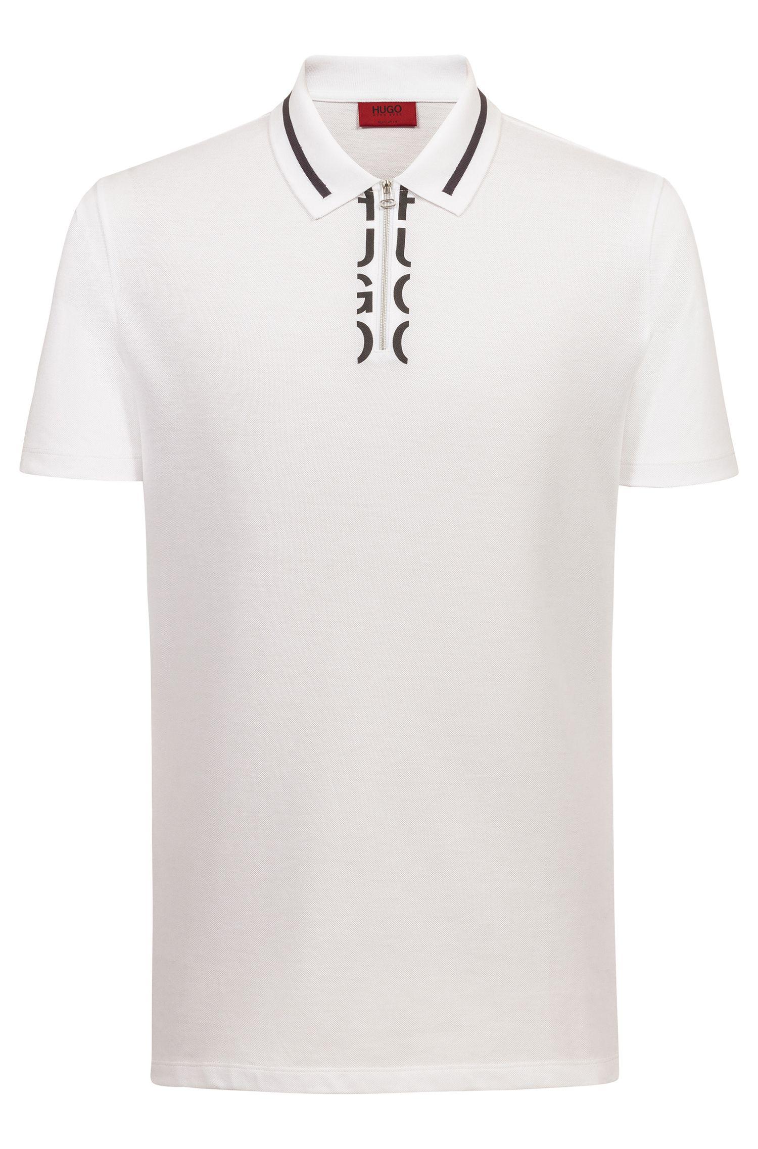 Poloshirt mit Troyerkragen und abgeschnittenem Logo am Reißverschluss, Weiß