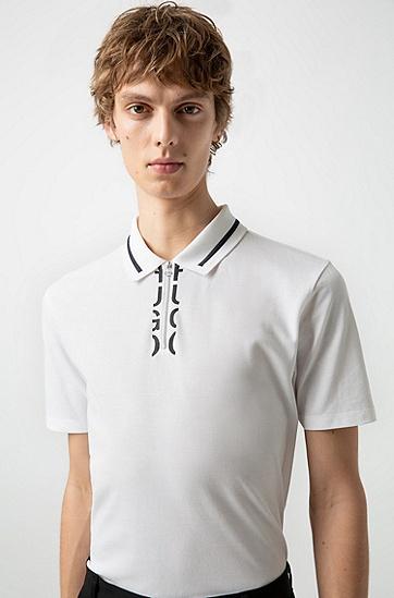 男士商务休闲短袖印花POLO衫,  100_白色