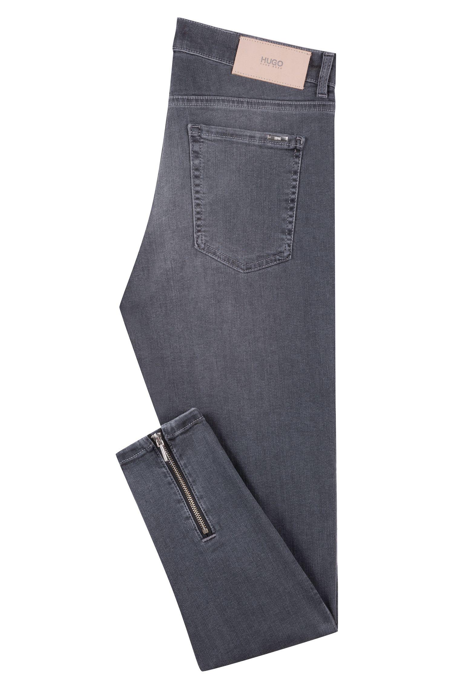 Skinny-fit jeans with rear-hem zips, Grey