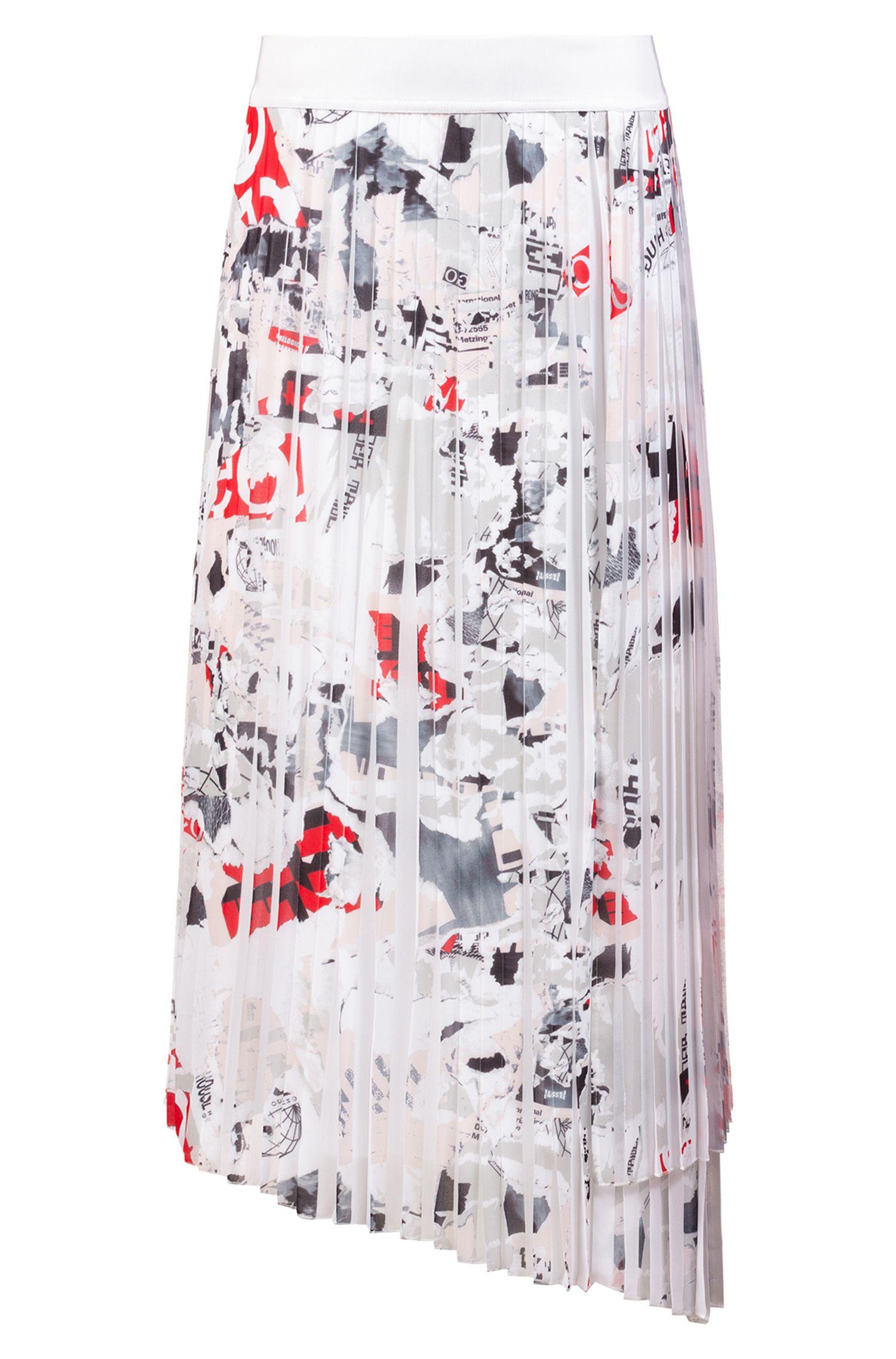 Plissé midi skirt with seasonal print and asymmetric hem, Patterned