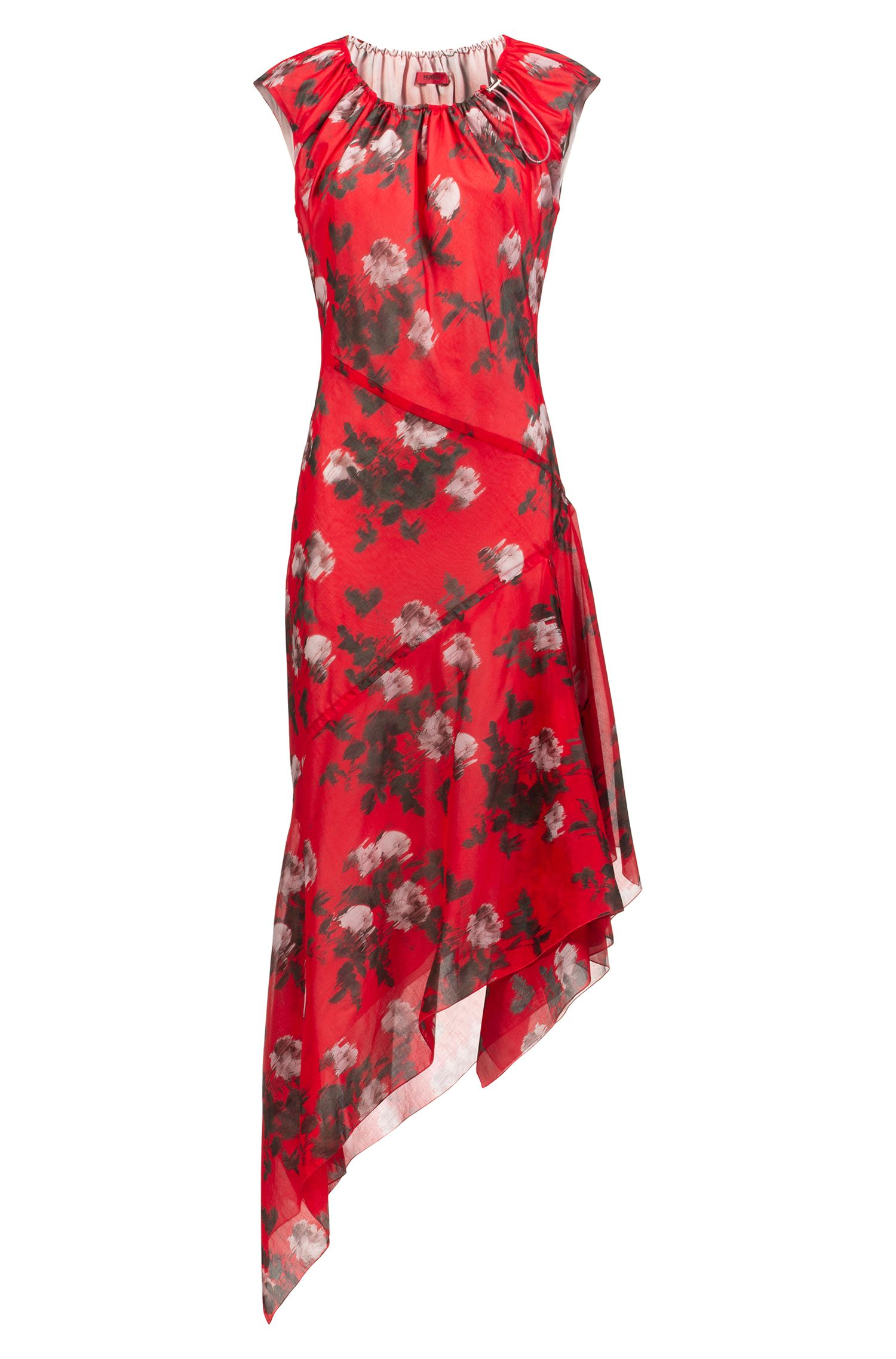 Asymmetric-hem dress with floral print and drawstring neckline, Patterned