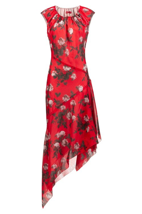 Hugo Boss - Asymmetric-hem dress with floral print and drawstring neckline - 1