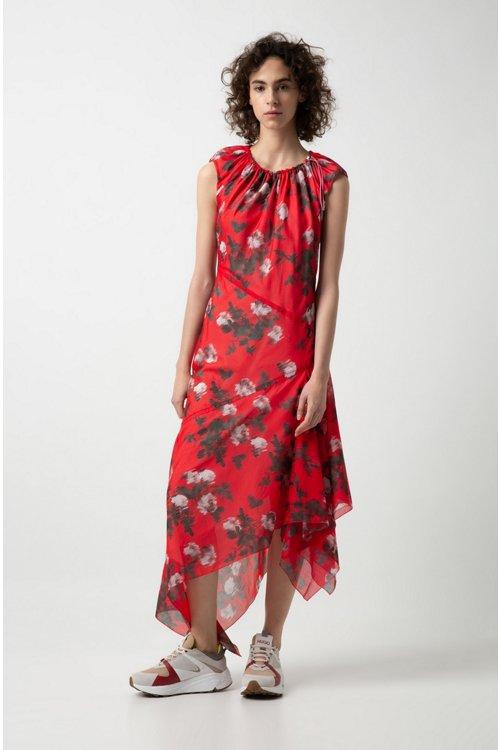 Hugo Boss - Asymmetric-hem dress with floral print and drawstring neckline - 2