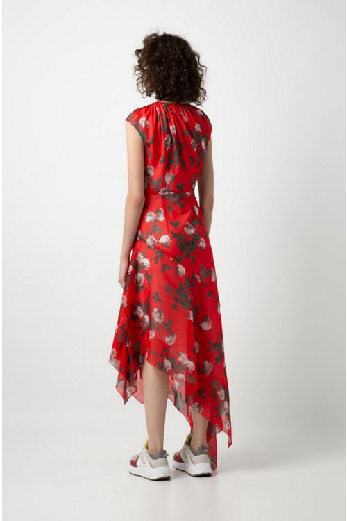 Hugo Boss - Asymmetric-hem dress with floral print and drawstring neckline - 4