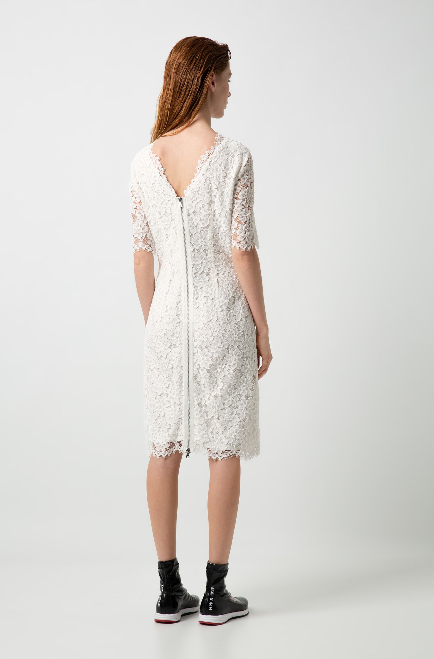 Lace A-line dress with V-cut back and exposed zip, Patterned