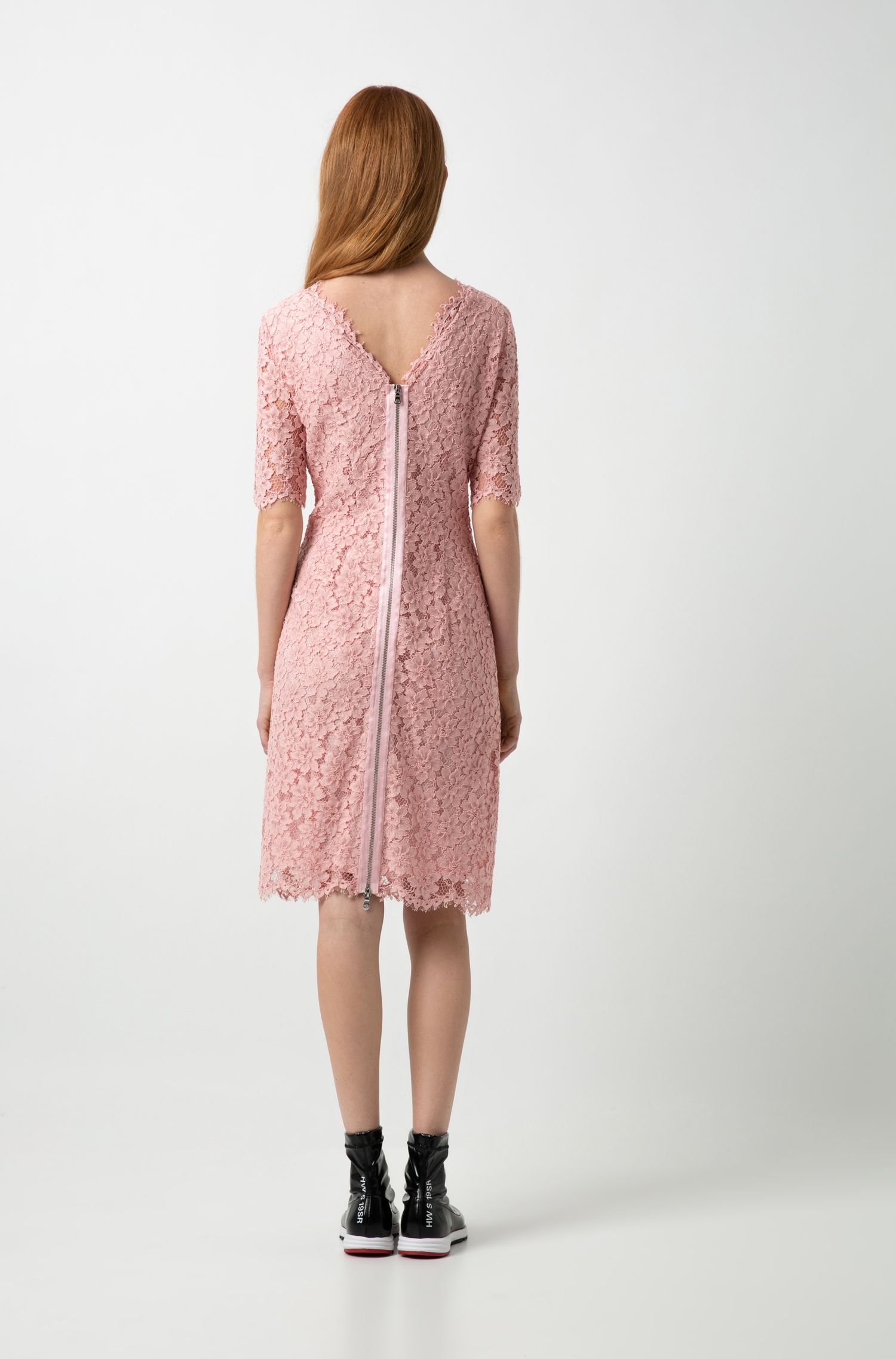Hugo Boss - Lace A-line dress with V-cut back and exposed zip - 4