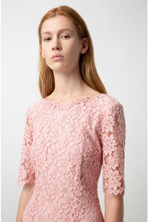 Hugo Boss - Lace A-line dress with V-cut back and exposed zip - 3