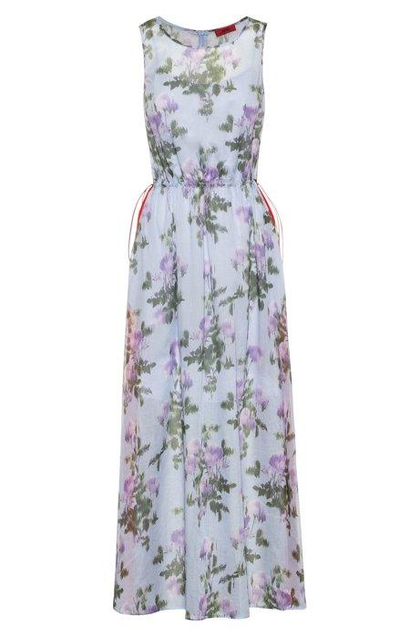 Lichte maxi-jurk met bloemenprint en strepen opzij, Bedrukt
