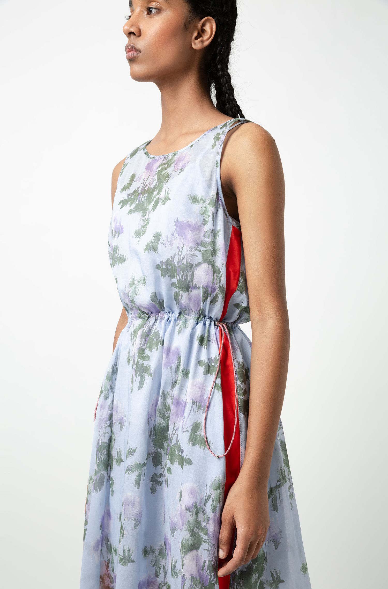 Lightweight maxi dress with floral print and side stripes, Patterned