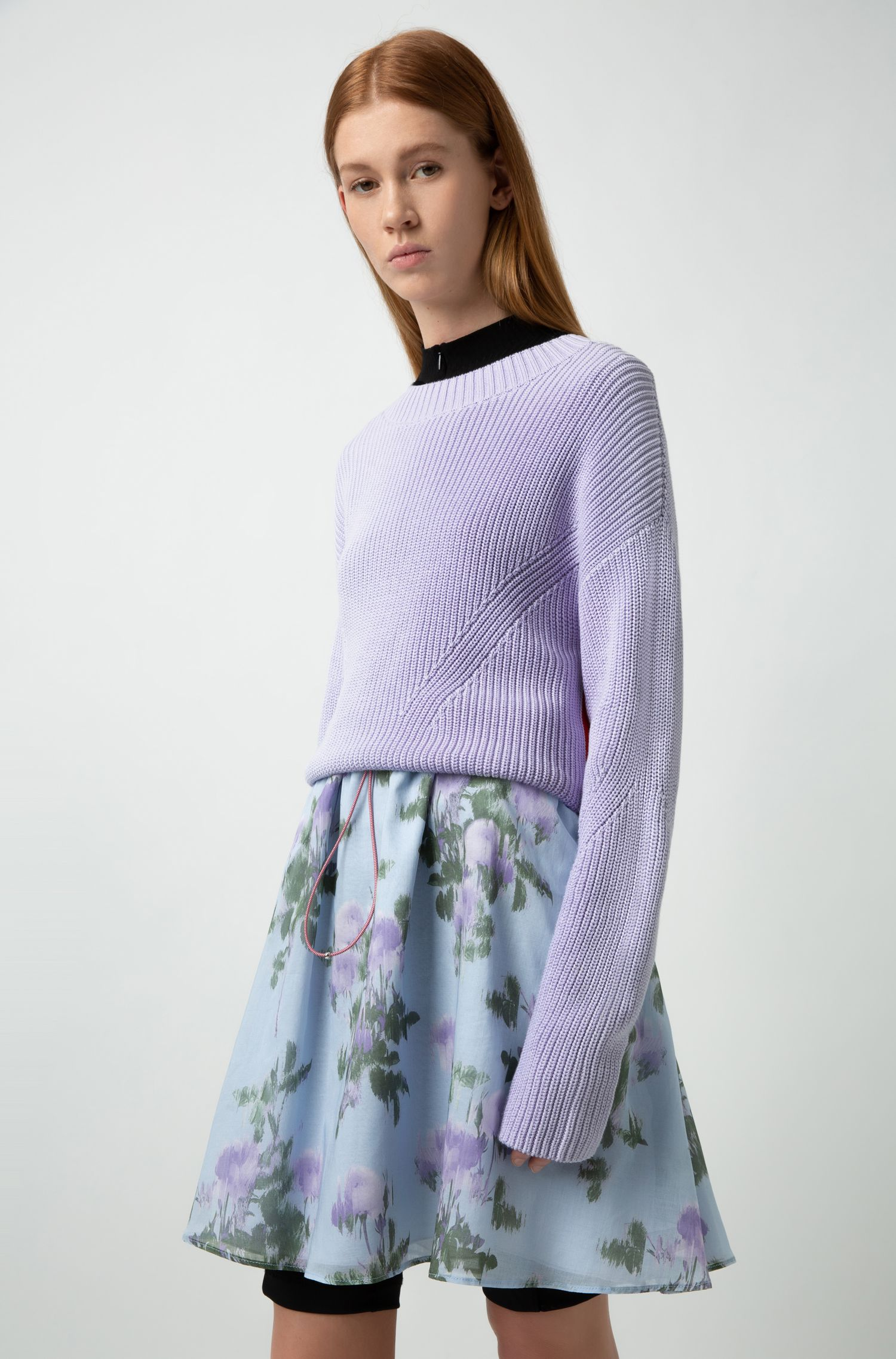 A-line skirt in lightweight floral-printed cotton, Patterned