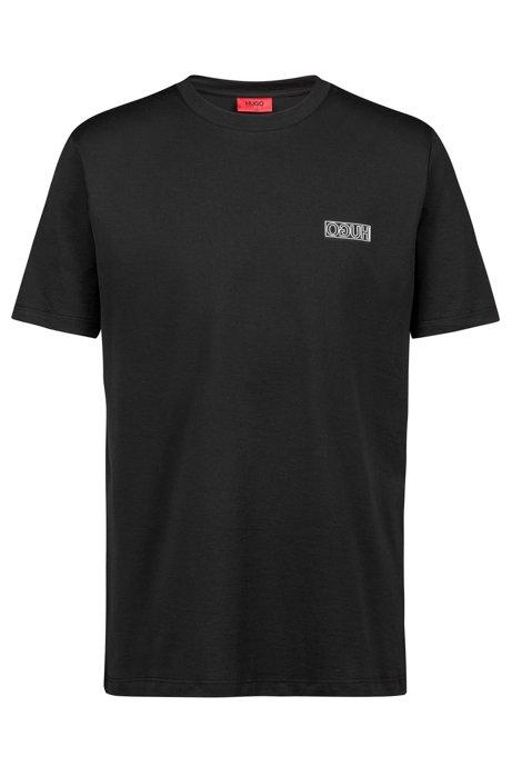 T-shirt à col ras-du-cou en coton à logo inversé ton sur ton, Noir