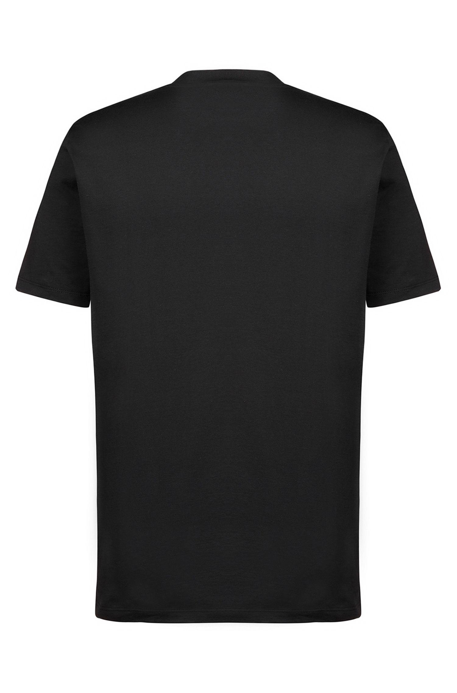 Katoenen T-shirt met ronde hals en ton-sur-ton gespiegeld logo, Zwart