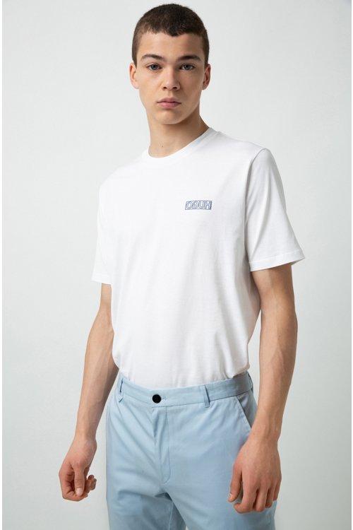 Hugo Boss - Camiseta de algodón con cuello redondo y logo tonal invertido - 3