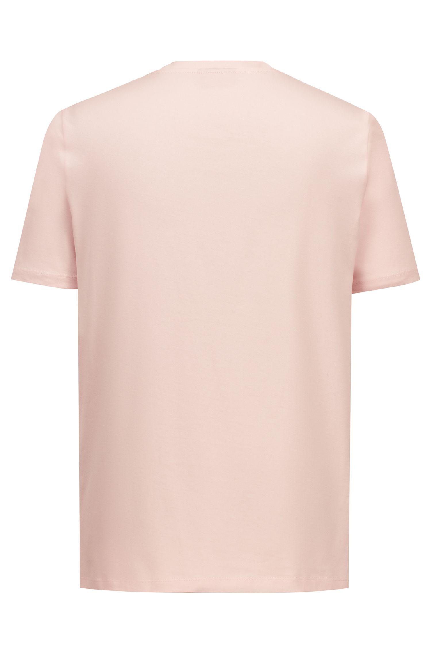T-shirt à col ras-du-cou en coton à logo inversé ton sur ton, Rose clair