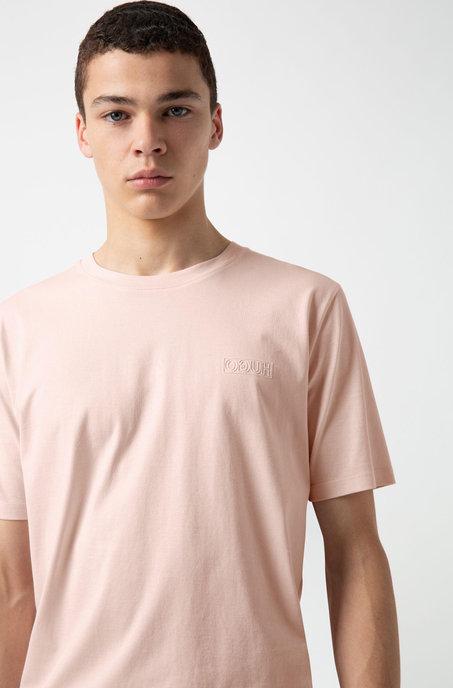 Camiseta de algodón con cuello redondo y logo tonal invertido, Rosa claro