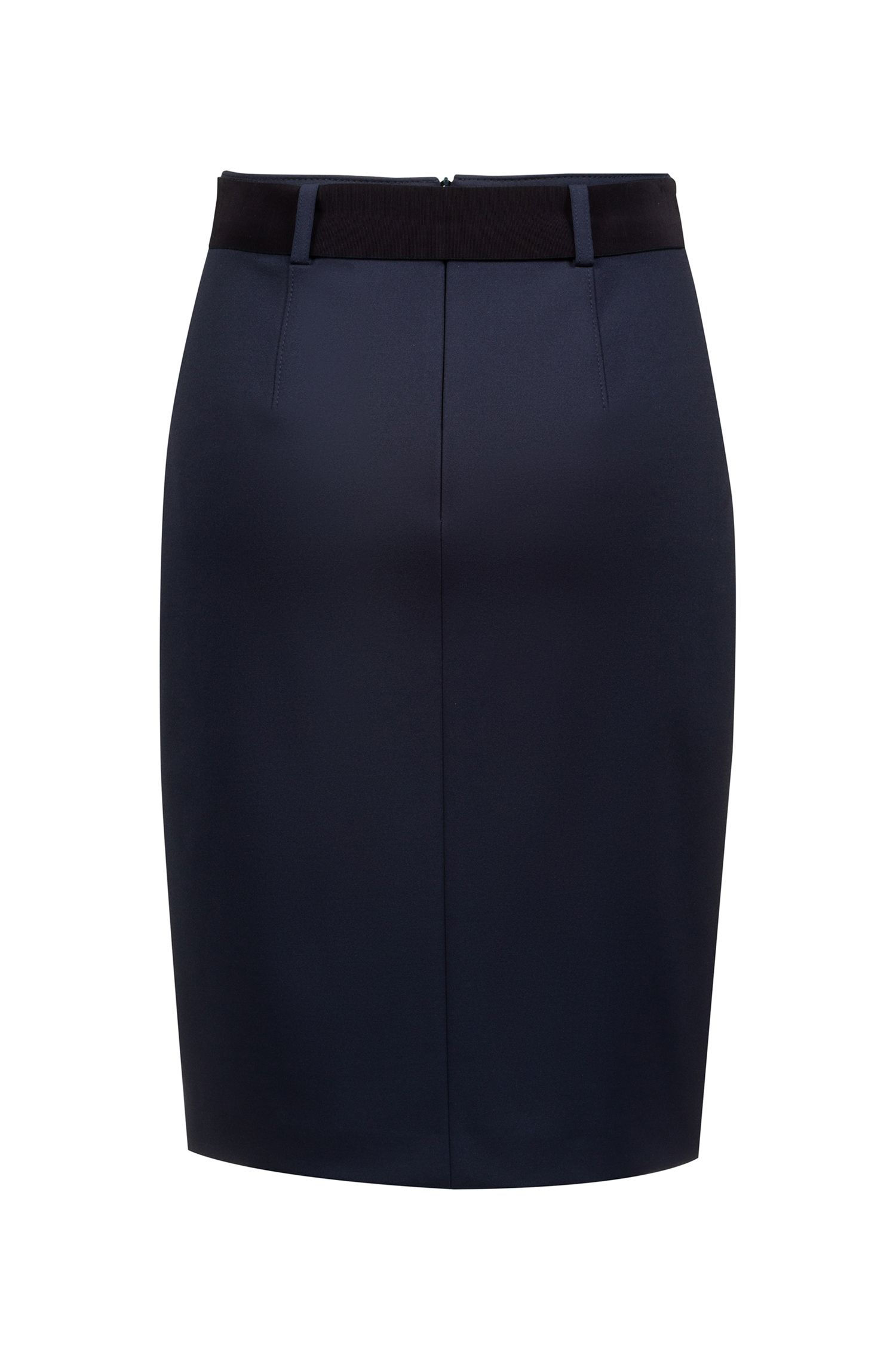 Slim-fit pencil skirt with belt and zipped pockets, Blue