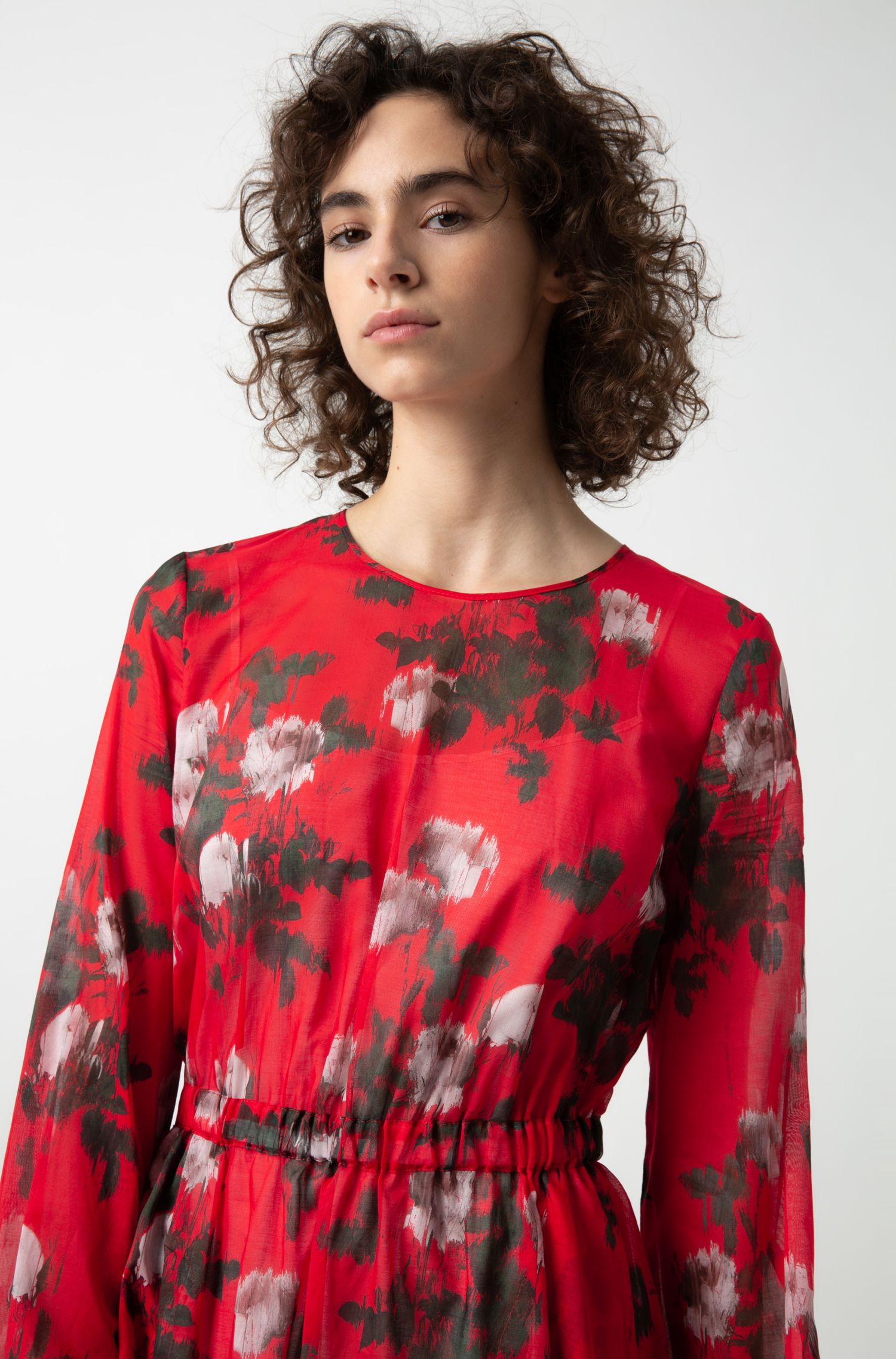 Long-sleeved dress in cotton with blurred floral print, Patterned