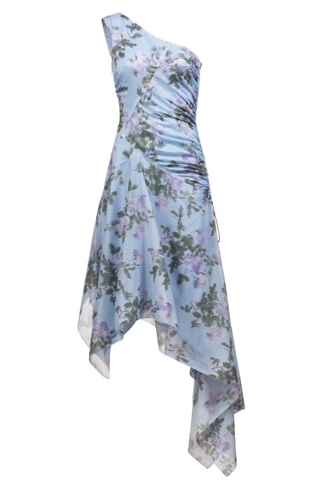 Slim-fit jurk met één schouder en asymmetrische zoom, Bedrukt