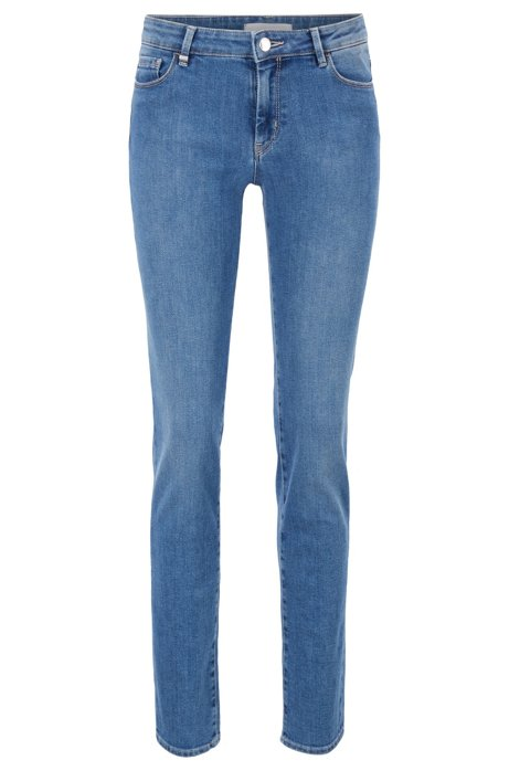 Slim-fit jeans in comfort-stretch blue denim, Blue