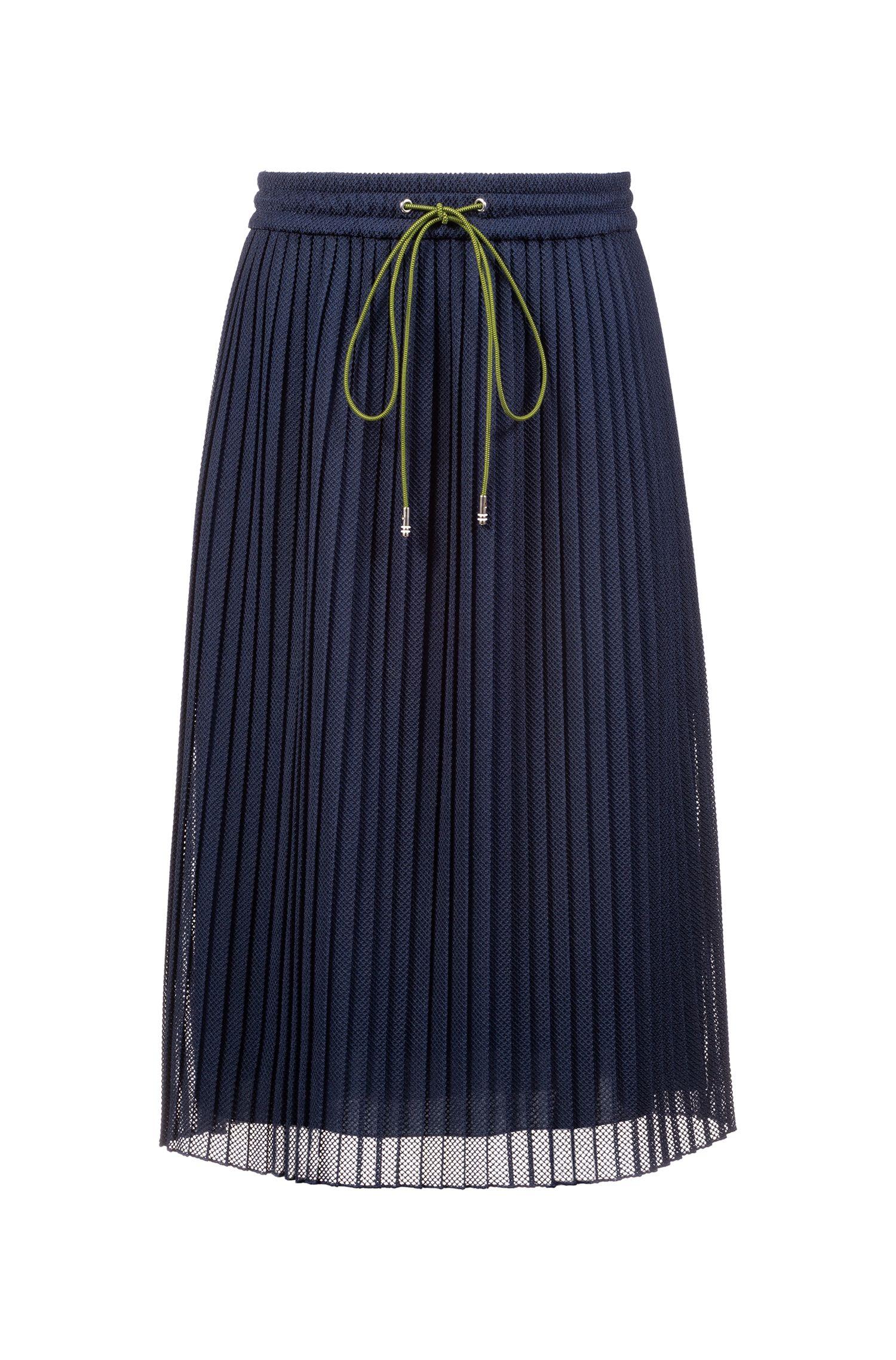 Jupe mi-longue en dentelle plissée, avec cordon de serrage à la taille, Bleu foncé