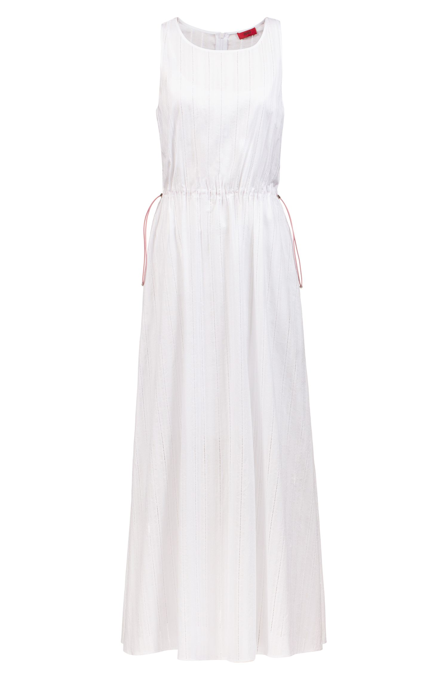 Embroidered-lace maxi dress with drawstring waist, Patterned