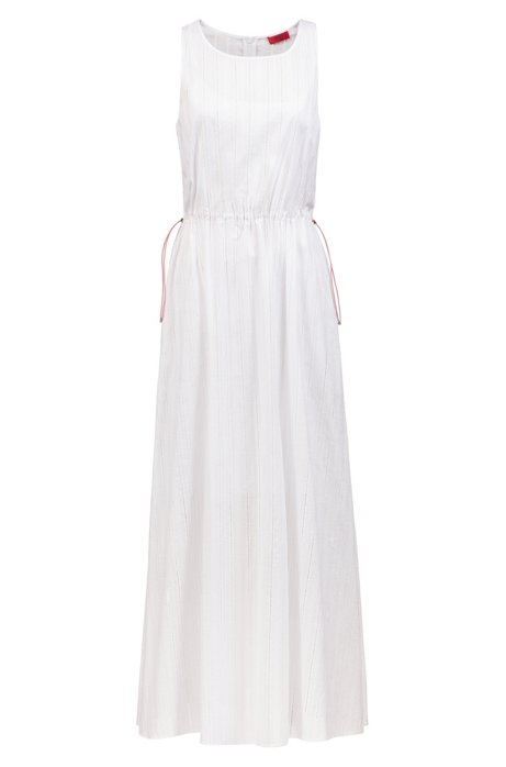 Maxi-jurk van gestikt kant met tailleband met trekkoord, Bedrukt