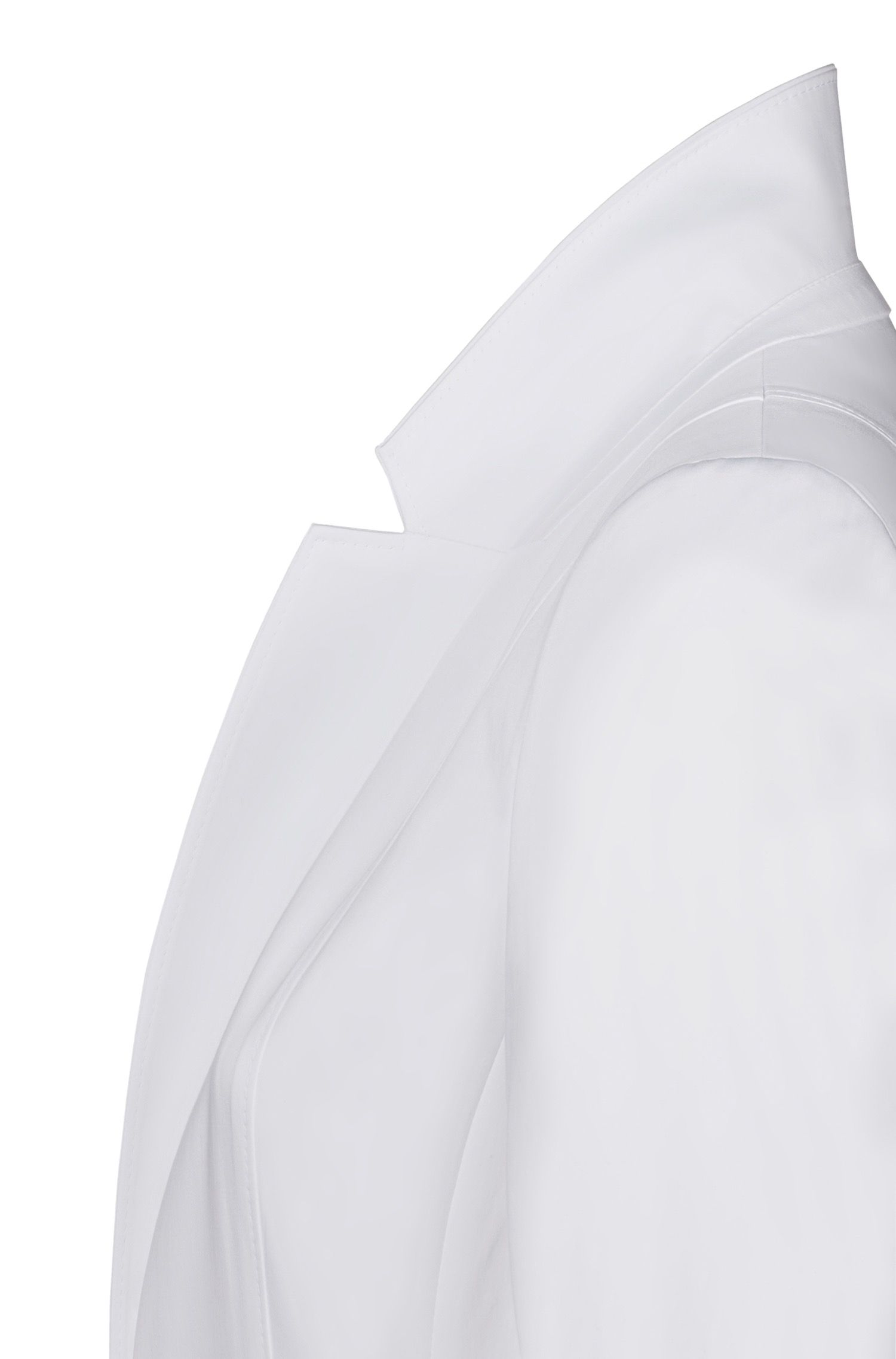 Regular-fit jacket in stretch cotton with stitching details, White
