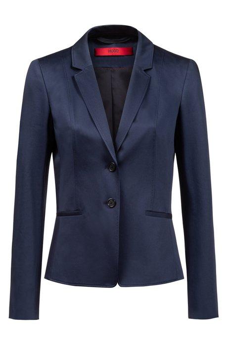 Chaqueta regular fit en algodón elástico con detalles de costuras, Azul oscuro