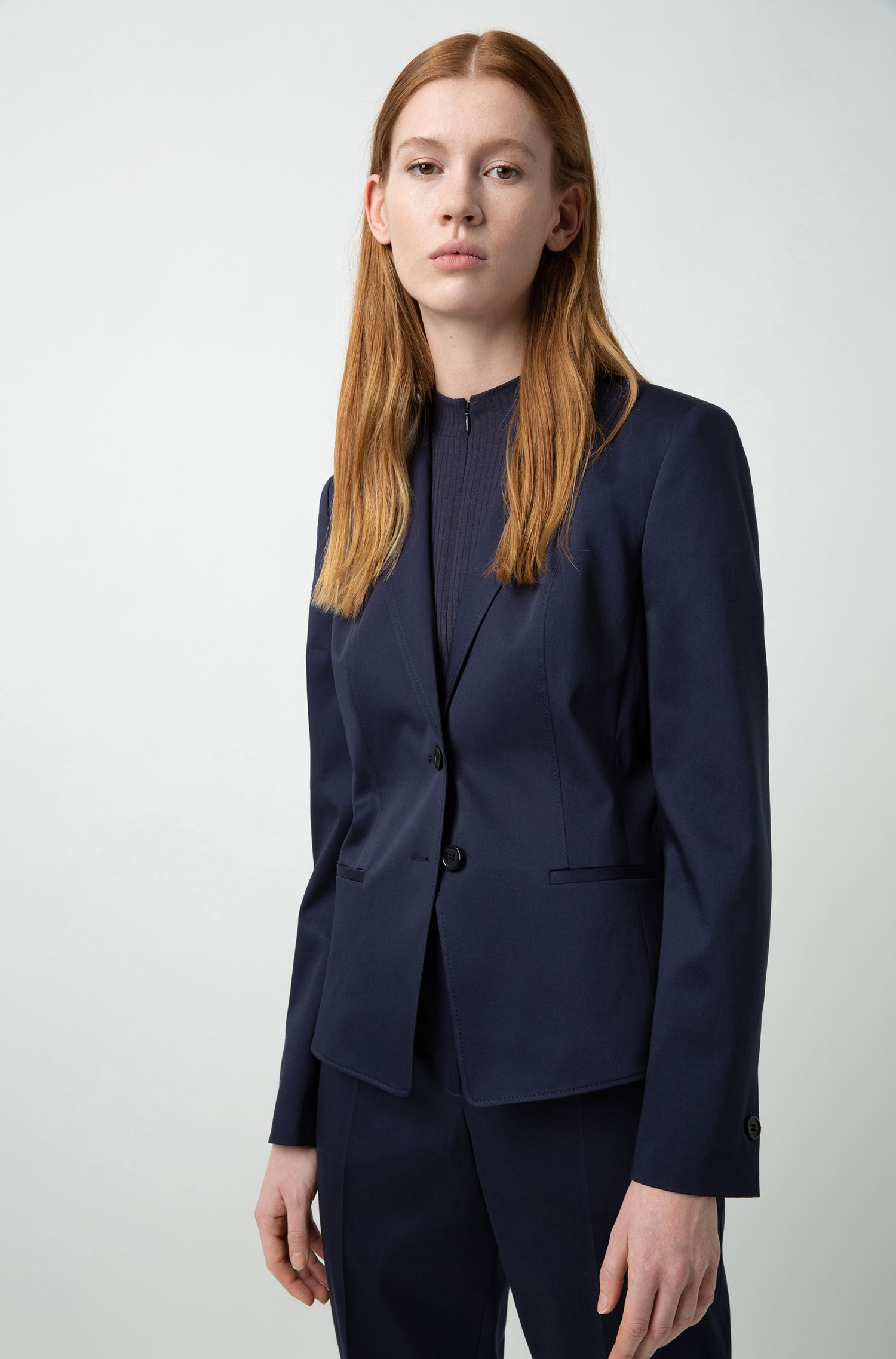 Regular-fit jacket in stretch cotton with stitching details, Dark Blue