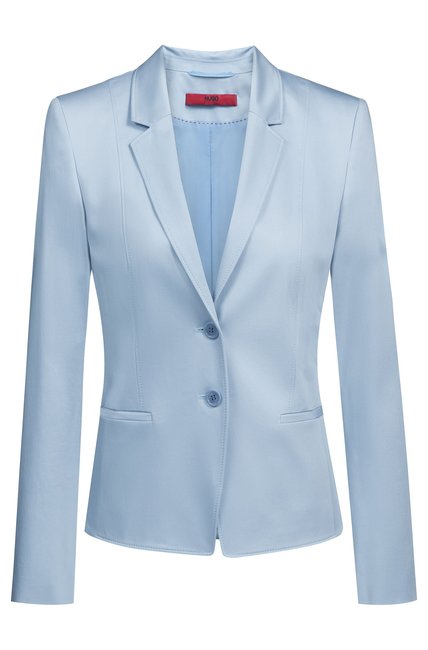 Regular-fit jacket in stretch cotton with stitching details, Open Blue