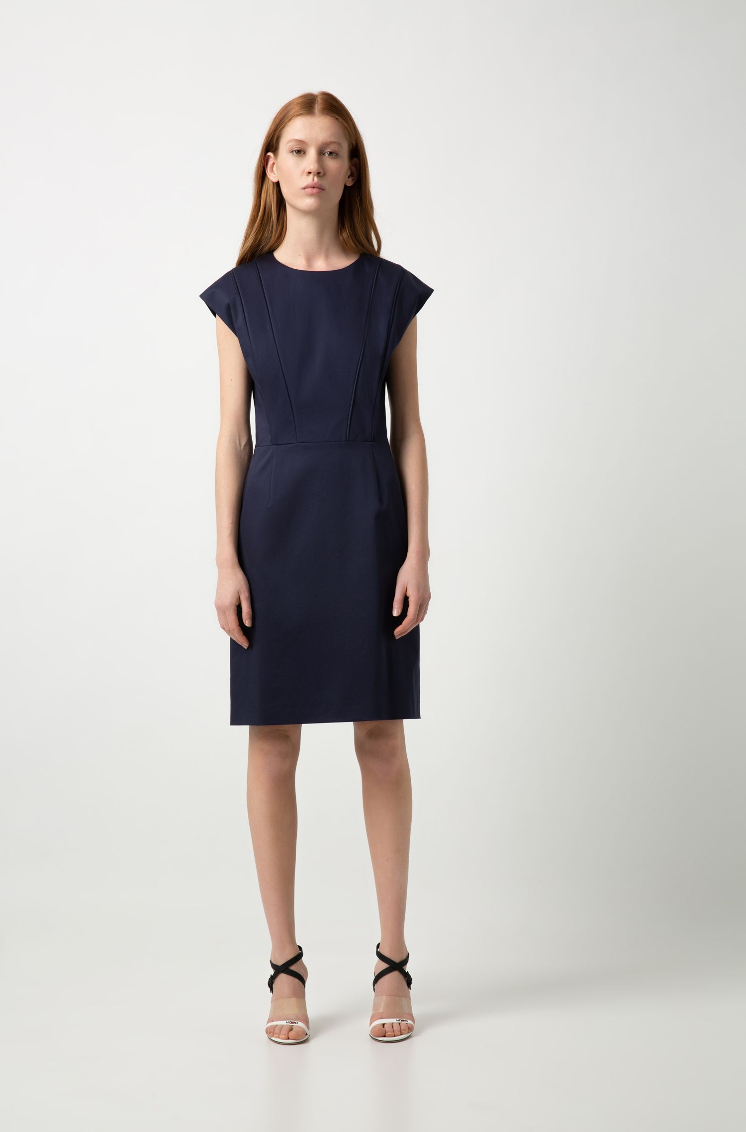 Cap-sleeve dress with pintuck-pleat bodice, Dark Blue