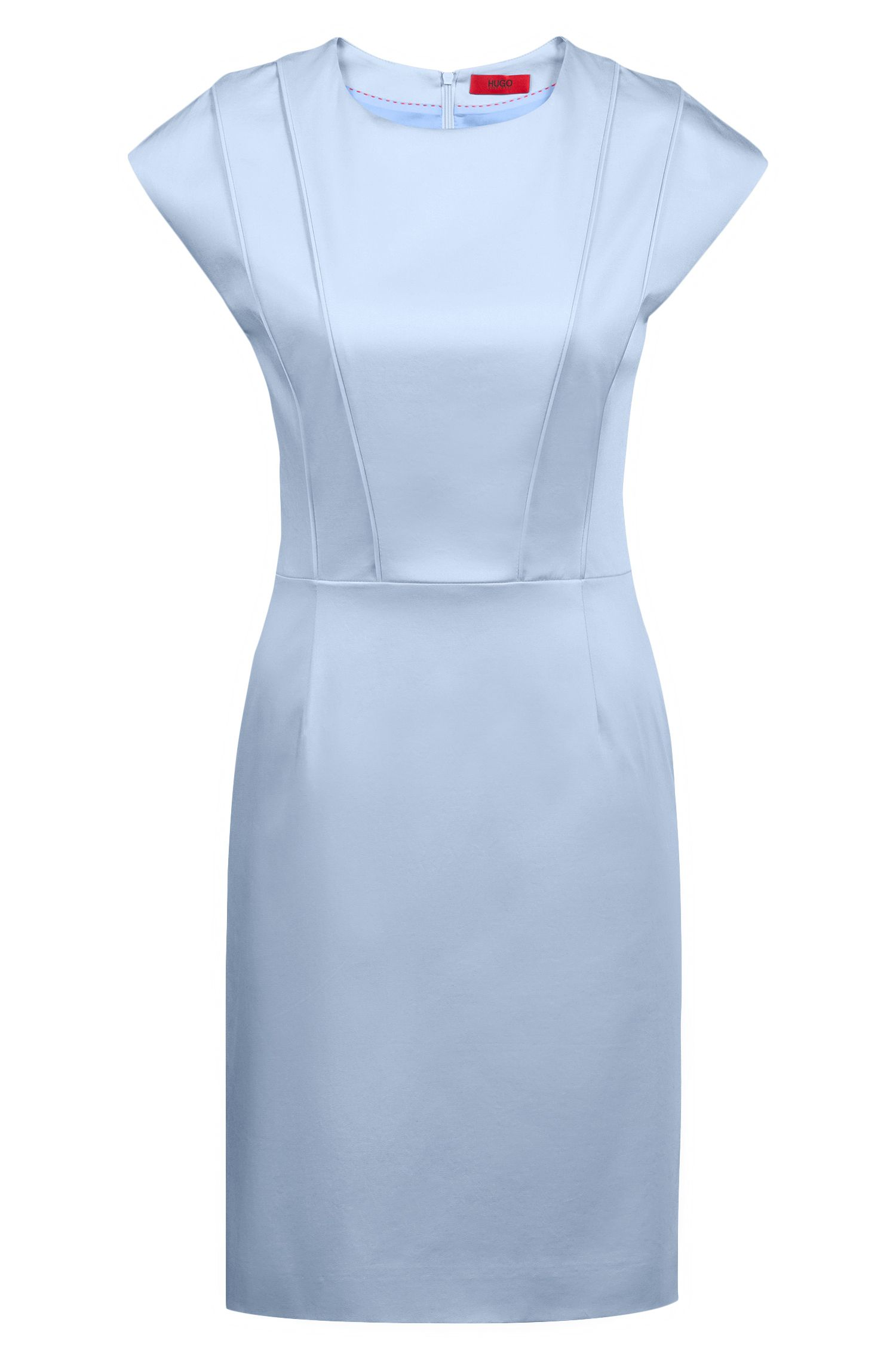 Cap-sleeve dress with pintuck-pleat bodice, Blue