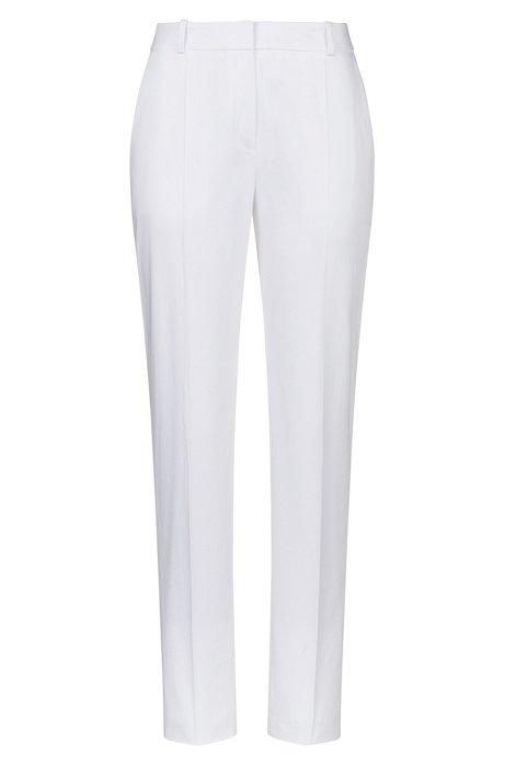 Kortere broek van stretchkatoen met toelopende pijpen, Wit