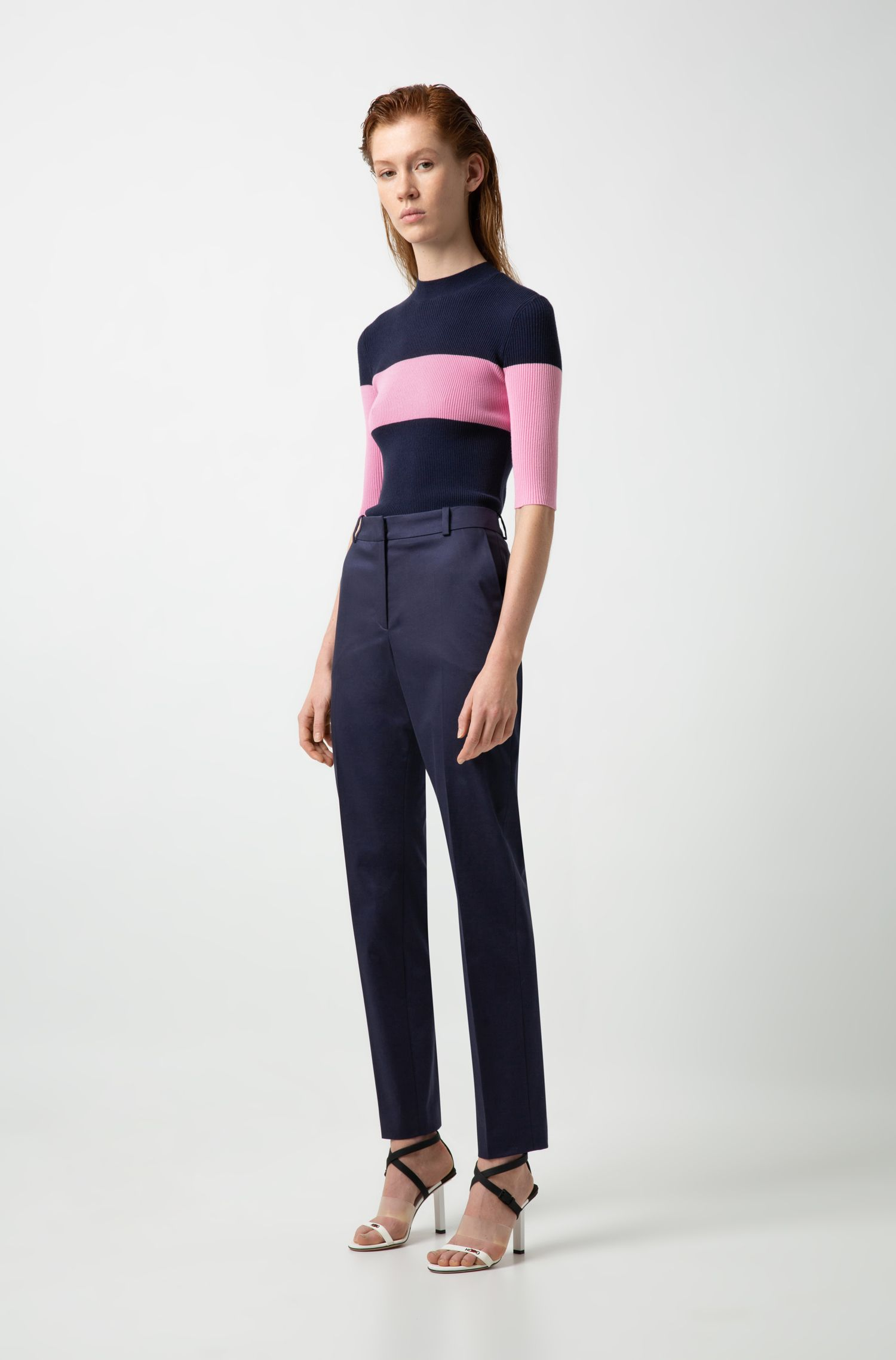 Tapered-leg cropped trousers in stretch cotton, Dark Blue