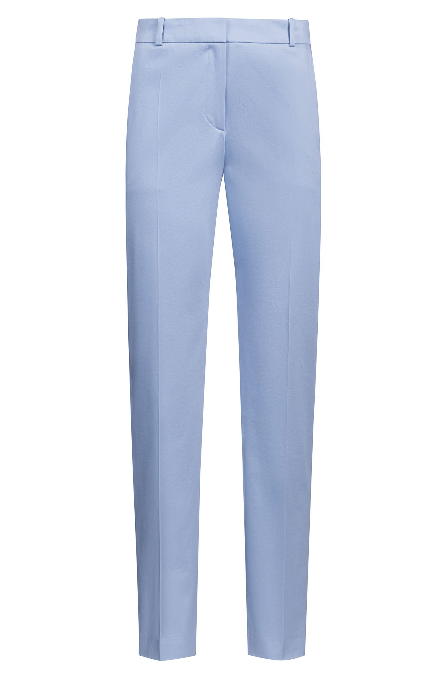 Tapered-leg cropped trousers in stretch cotton, Blue