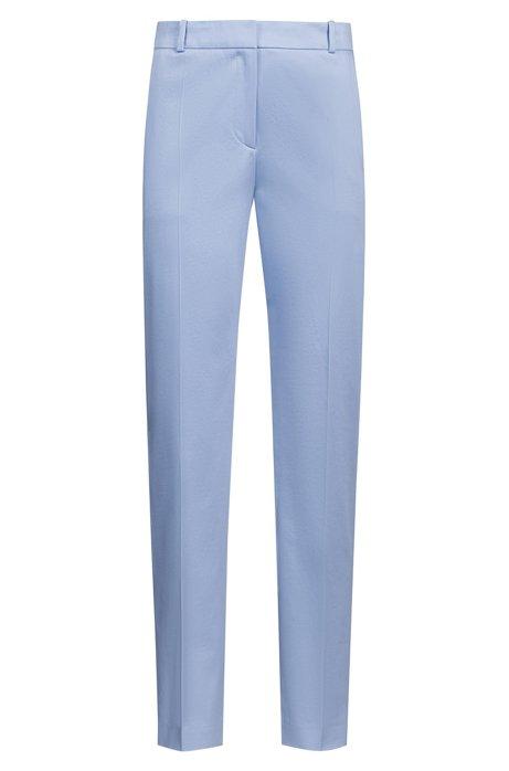 Kortere broek van stretchkatoen met toelopende pijpen, Blauw