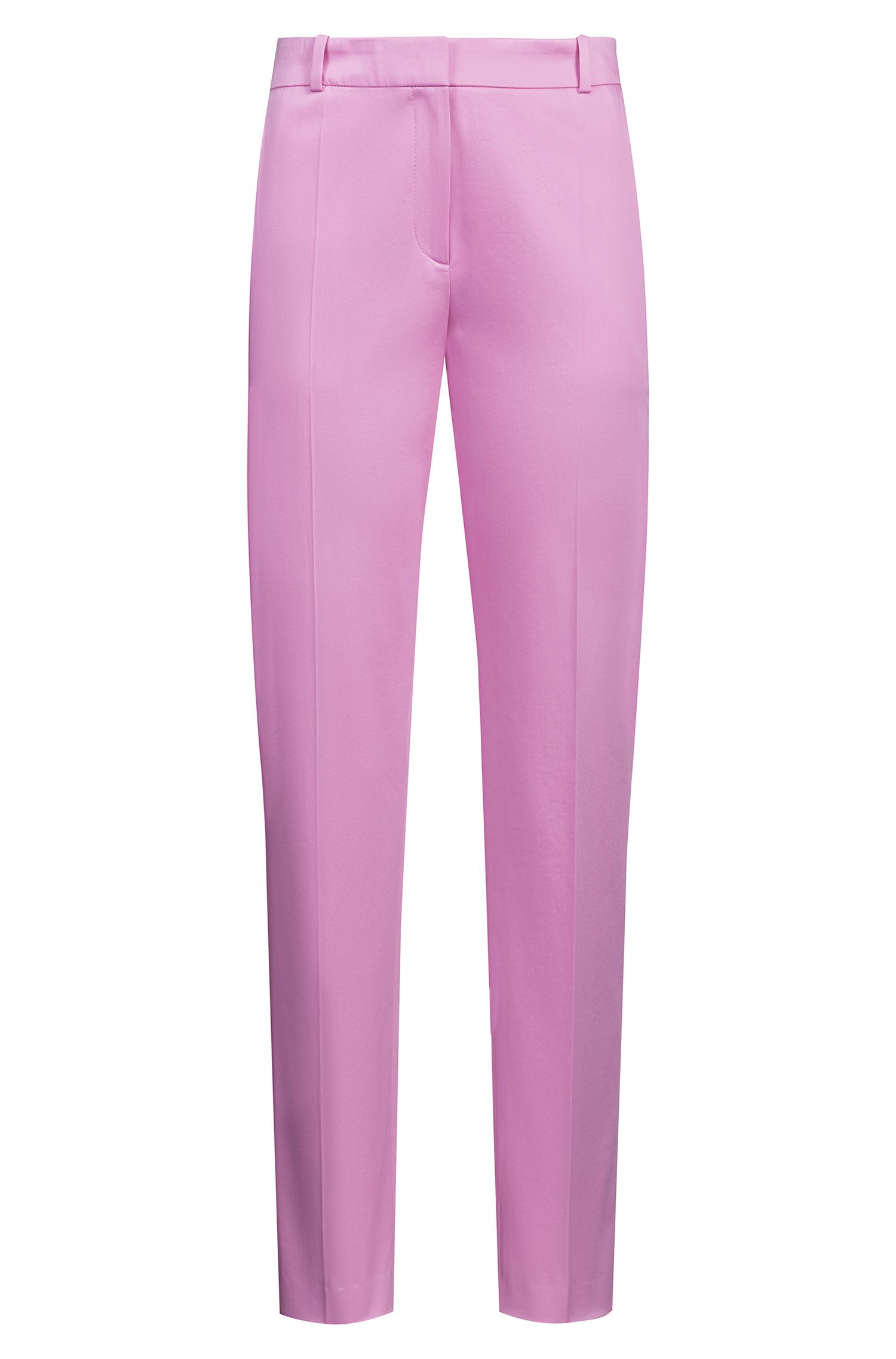 Regular-Fit Hose aus Stretch-Baumwolle in Cropped-Länge, Pink