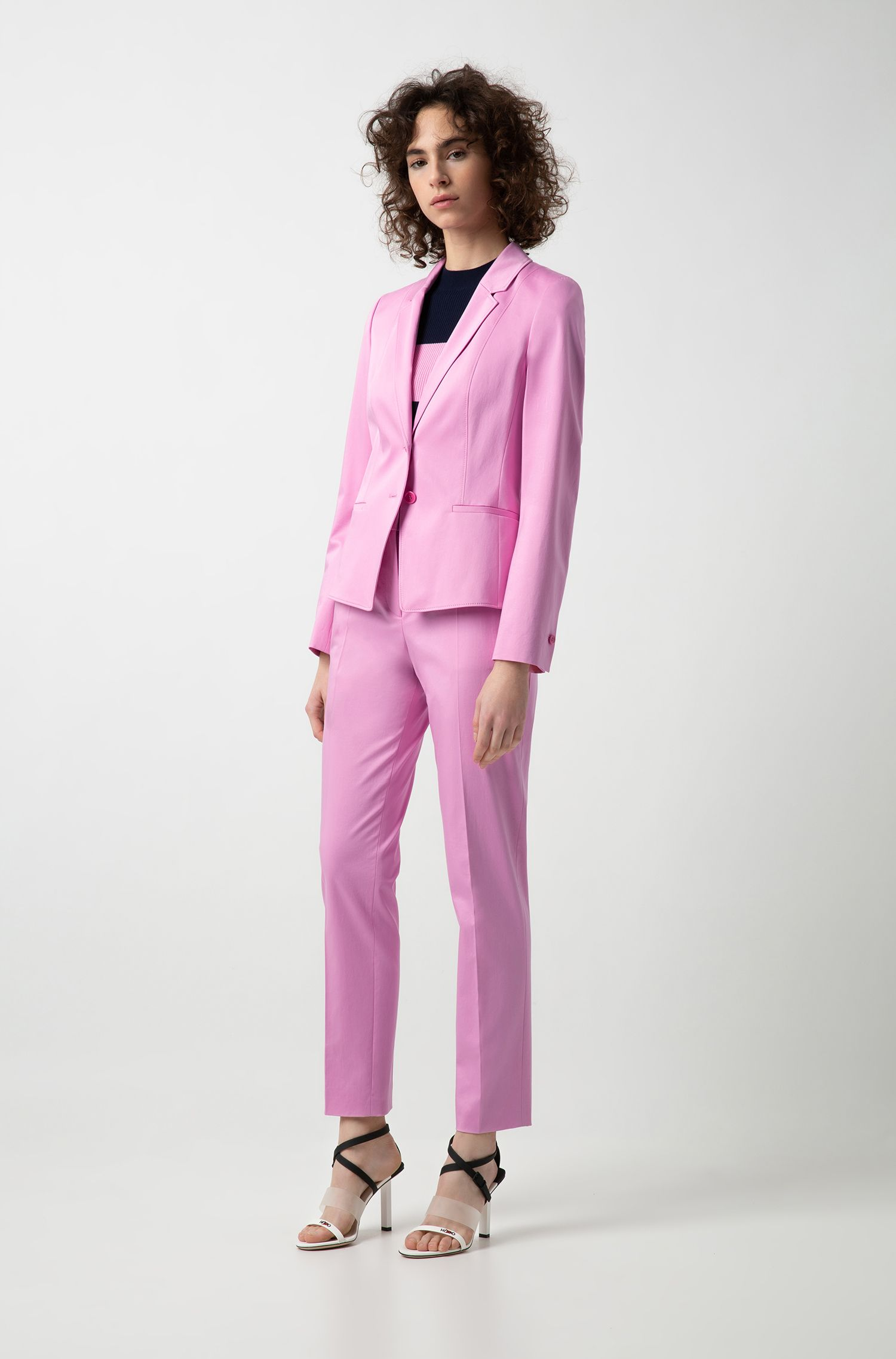 Tapered-leg cropped trousers in stretch cotton, Pink