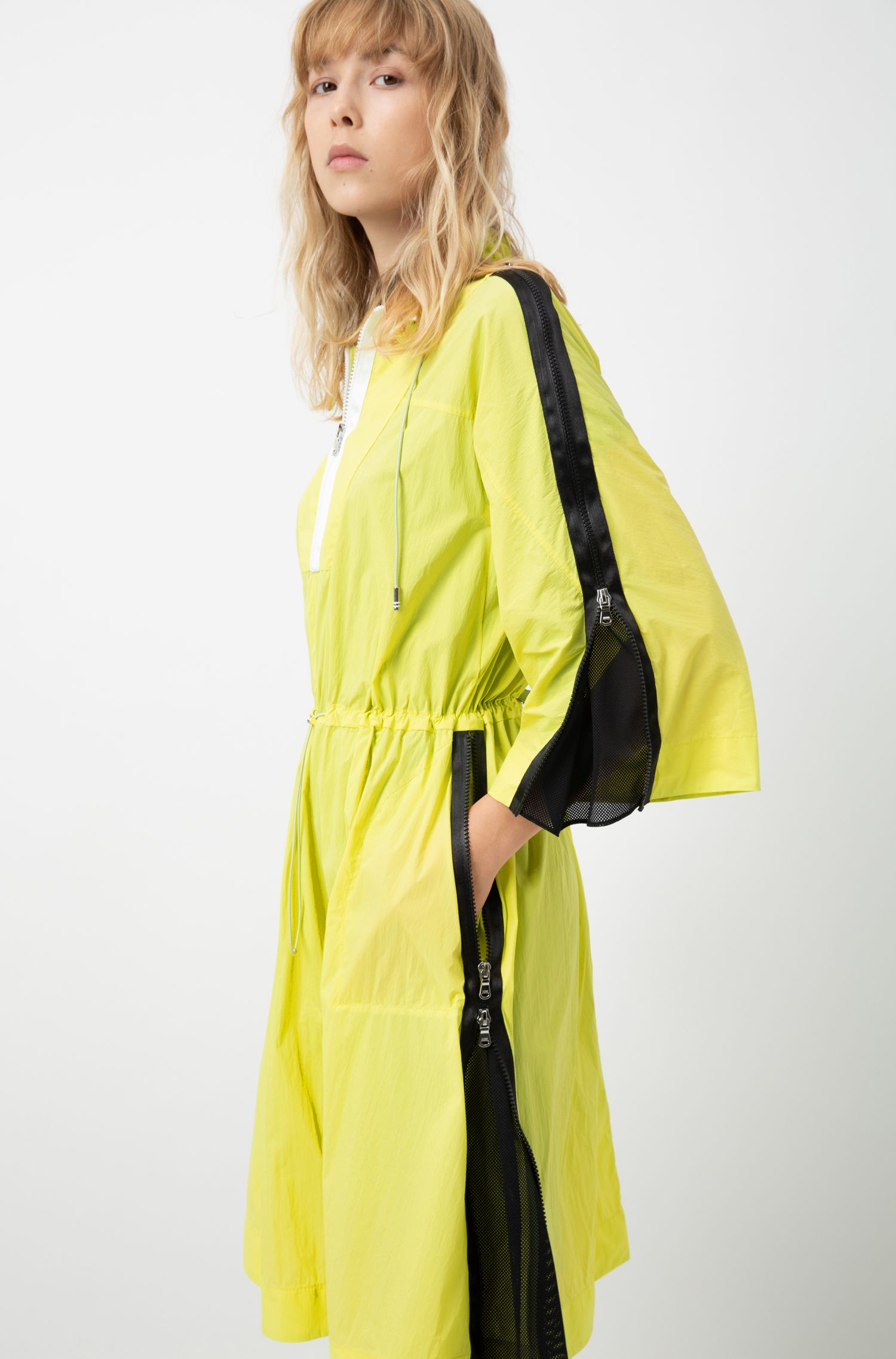 Relaxed-fit windbreaker-style dress in vibrant technical fabric, Yellow