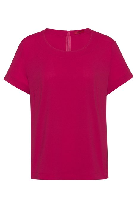 Short-sleeved top in stretch crepe, Dark pink