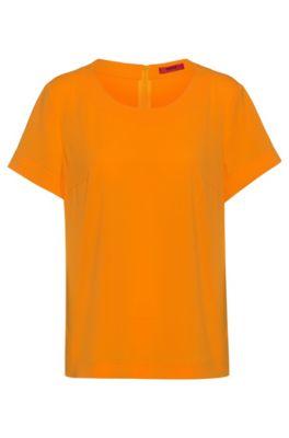 Short-sleeved top in stretch crepe, Orange