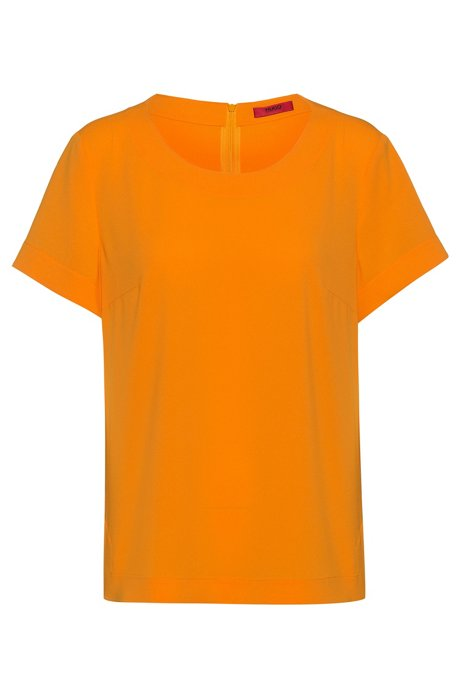 Short-sleeved top in stretch crepe, Orange