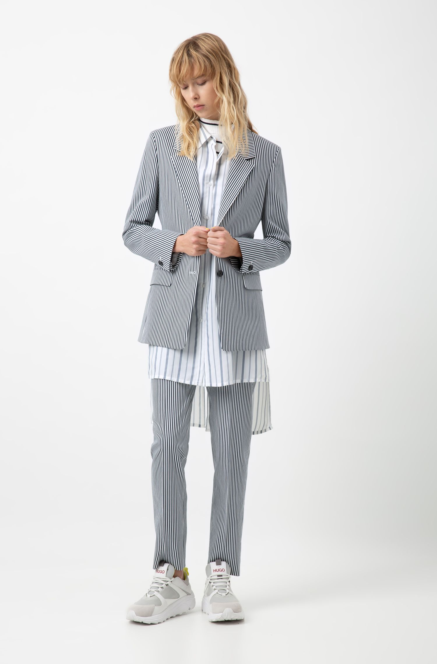 Two-button jacket in a striped stretch-cotton blend, Patterned