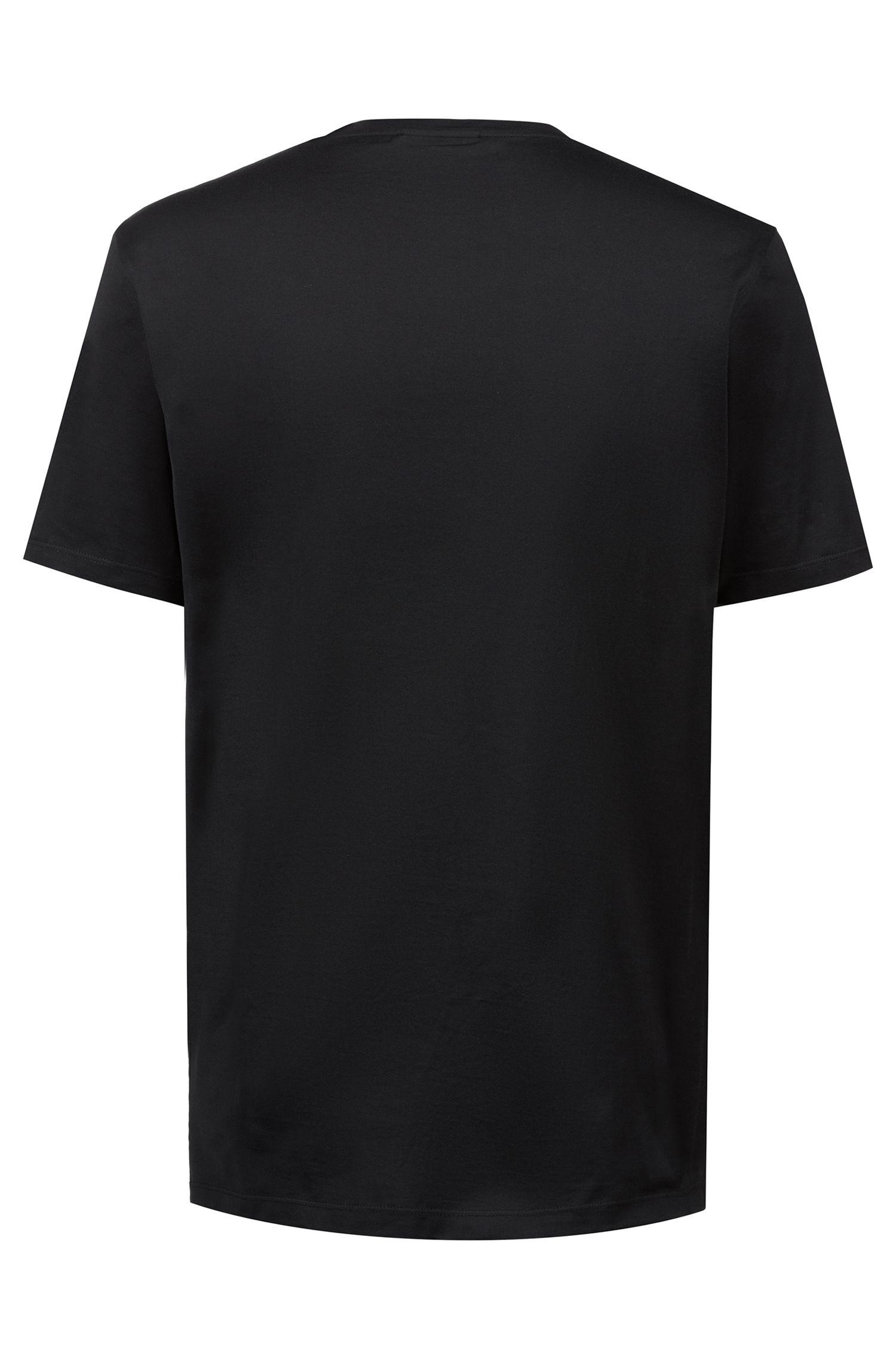 T-shirt à col ras-du-cou en coton à imprimé logo inversé, Noir