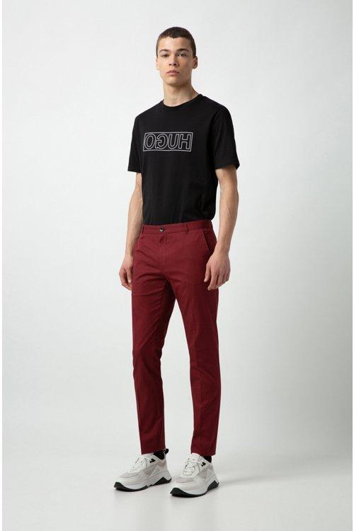 Hugo Boss - Camiseta de algodón con cuello redondo y estampado de logo invertido - 2